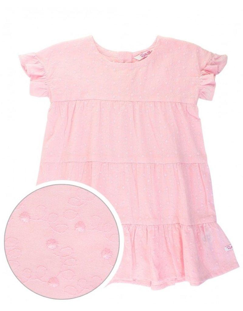 RuffleButts Pink Swiss Dot Tiered Dress
