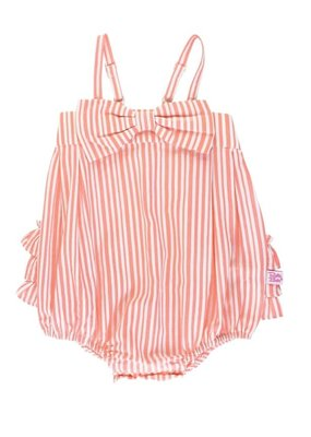 RuffleButts Coral Stripe Bow Front Bubble Romper
