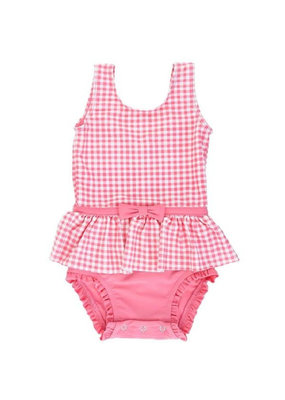RuffleButts Infant Rose Gingham Skirted One Piece