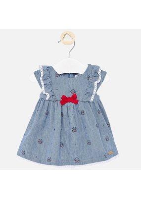Denim Dress with Bow