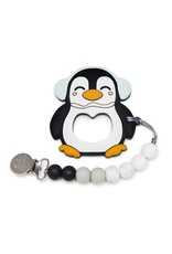LouLou Lollipop Black Penguin Silicone Teething Set