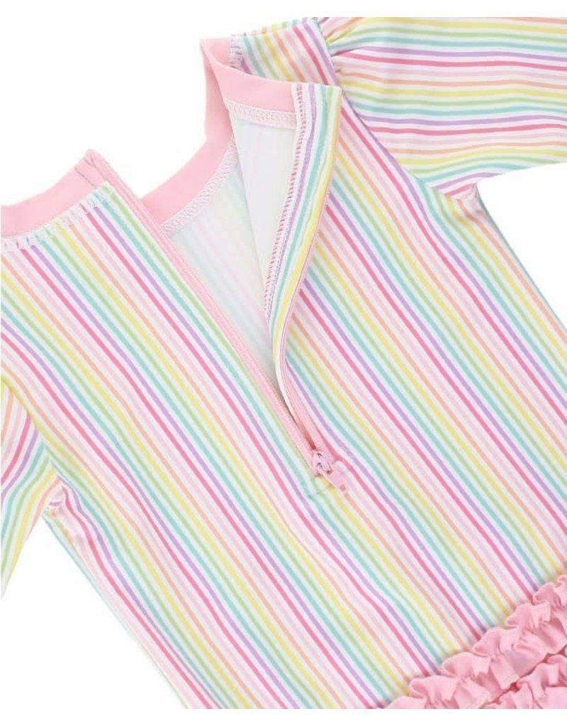 RuffleButts Rainbow Stripe One Piece Rash Guard