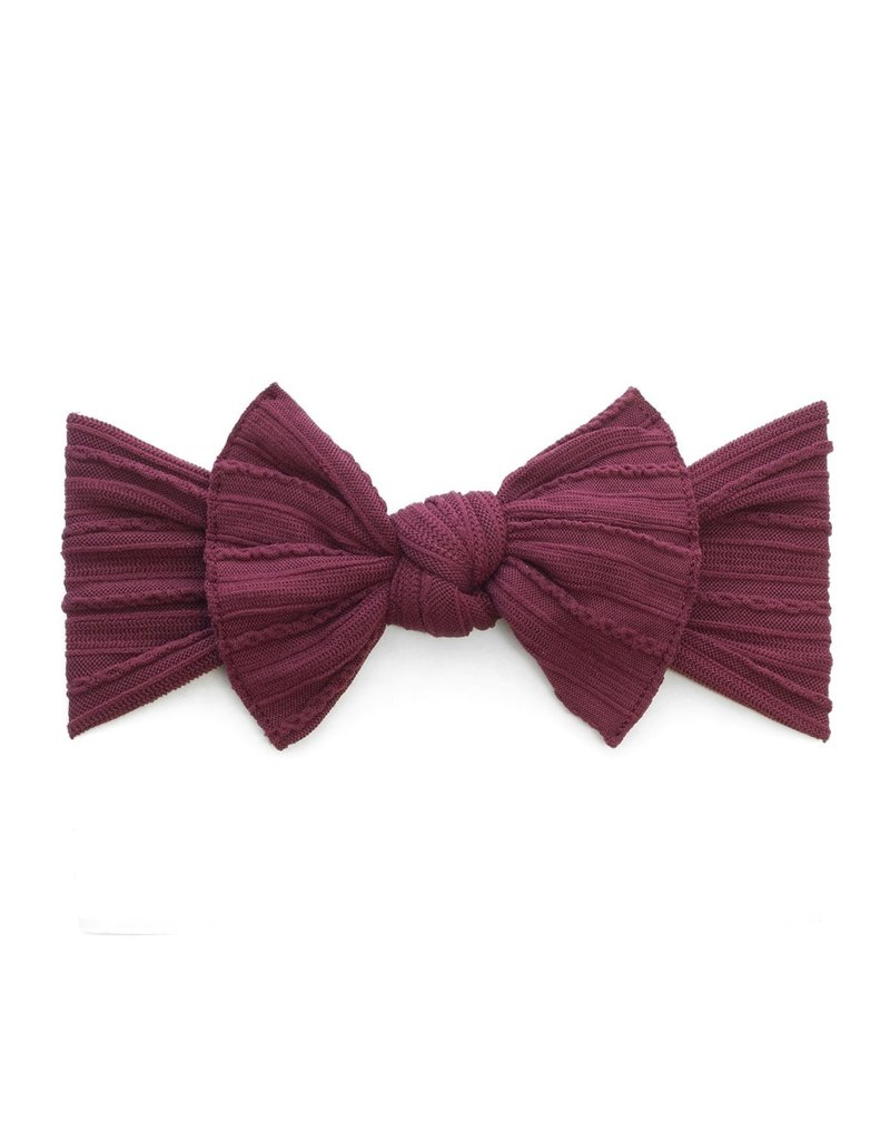 Baby Bling Cable Knit Knot Burgundy