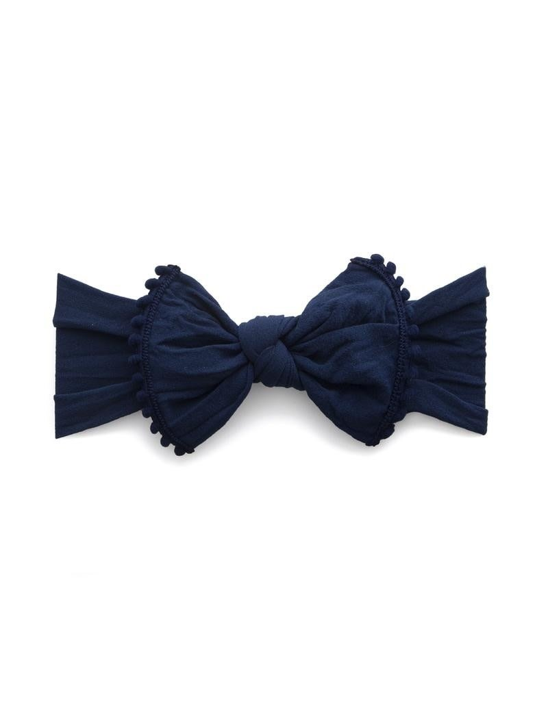 Baby Bling Trimmed Classic Knot Navy Pom