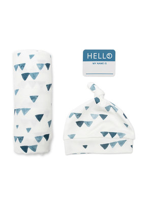 Hello World Hat & Swaddle Set Triangle Blue