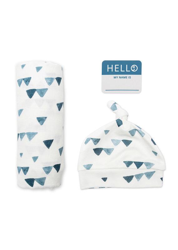 Hello World Hat & Swaddle Set Triangle Blue