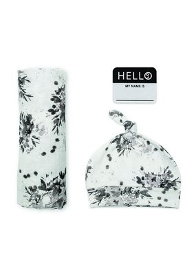 Hello World Hat & Swaddle Set Black Floral