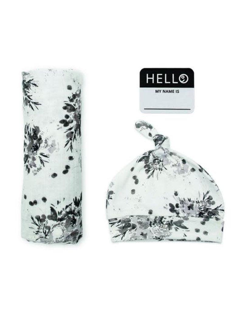 Hello World Hat & Swaddle Set Black Floral