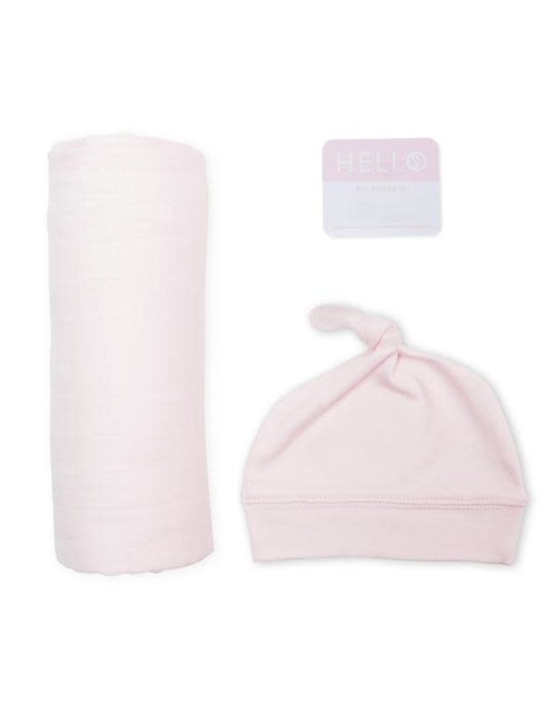 Hello World Hat & Swaddle Set Baby Pink
