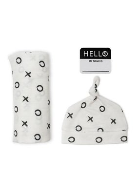 Hello World Hat & Swaddle Set Hugs & Kisses