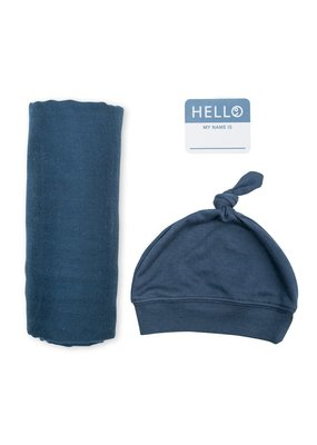Hello World Hat & Swaddle Set Navy