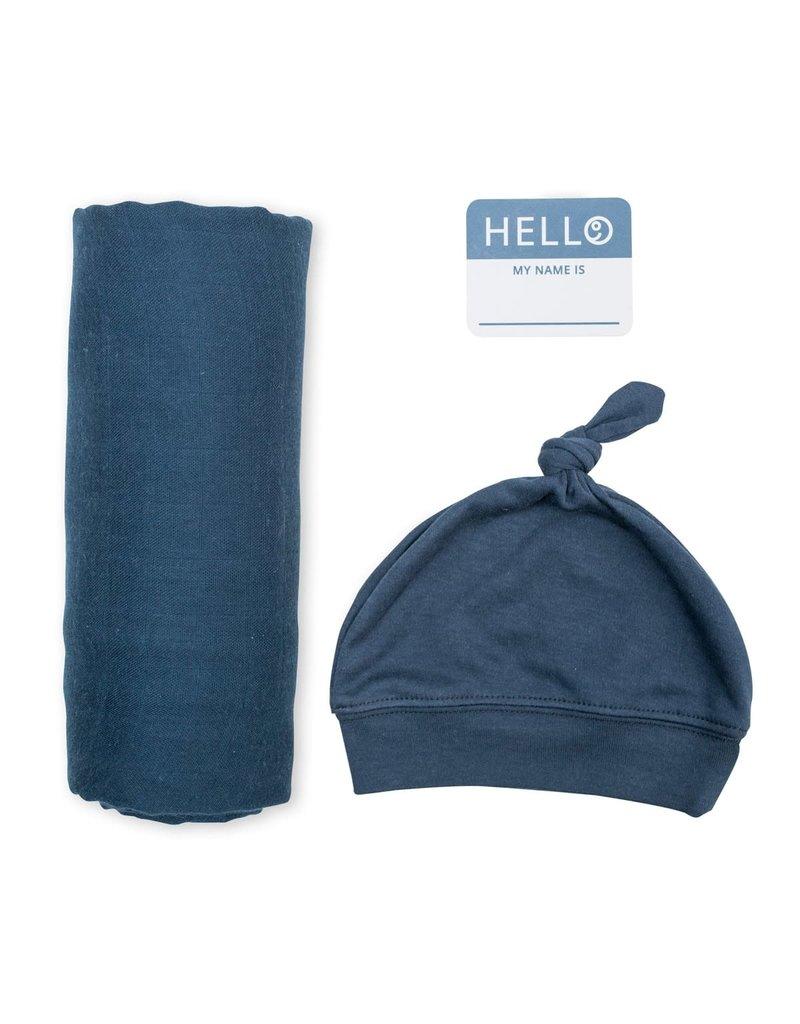 Hello World Hat & Swaddle Set Navy