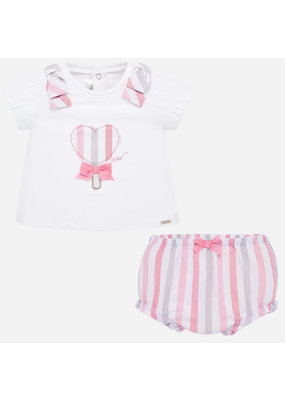 Mayoral Pink Stripe Top and Bloomer