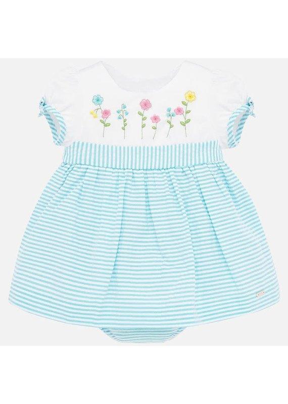 Turquoise Seersucker Stripe Dress
