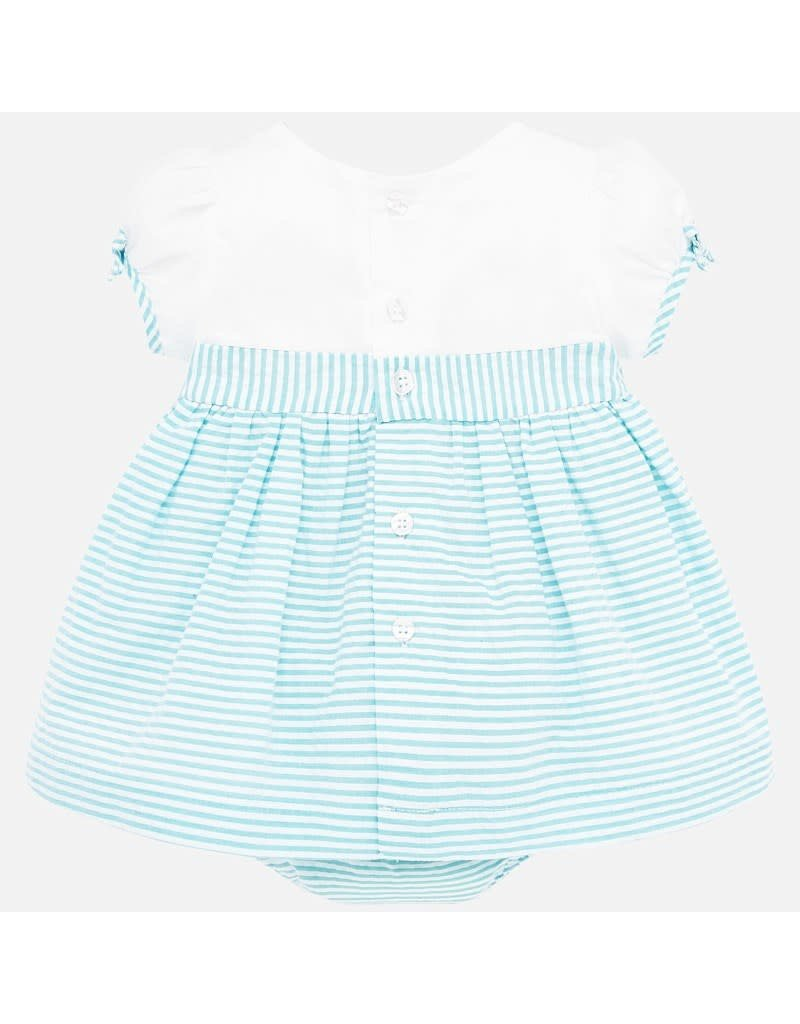 Turquoise  Aqua Seersucker Stripe Dress
