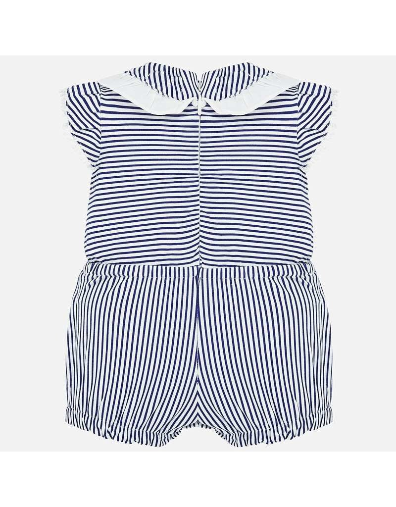 Mayoral Blue Stripe Romper with Hat