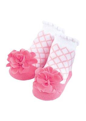 MudPie Pink Lattice Flower Socks