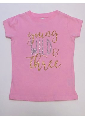 Tracy's Treasures Young Wild & Three Birthday Shirt