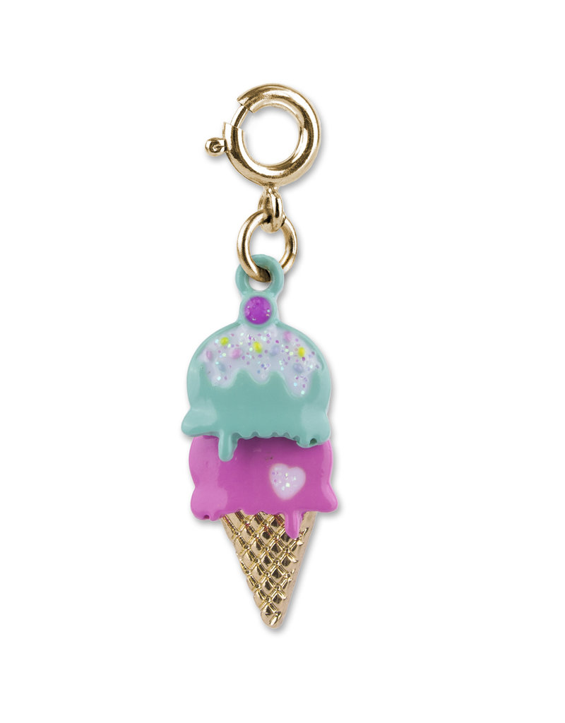 High Intencity Corporation CHARM IT! CHARM IT! Gold Swivel Ice Cream Cone Charm