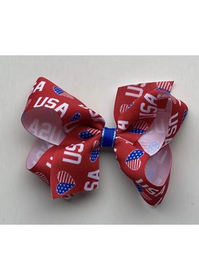 Medium Print USA Red Bow