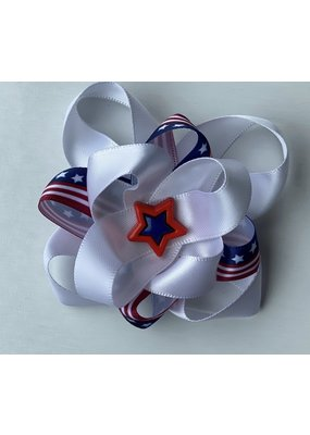 4th of July Layered Bow Red and Blue Star