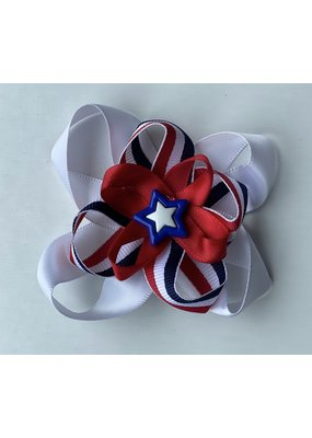 4th of July Layered Bow Blue and White Star