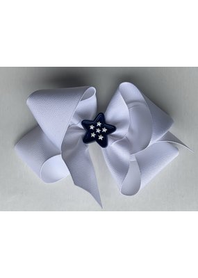 Bows Arts 4th of July White Bow with Blue Star Dots Charm