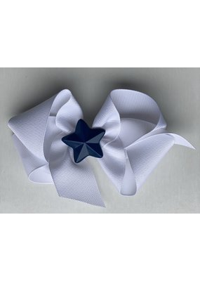 Bows Arts 4th of July White Bow with Blue Star