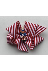 Bows Arts 4th of July Red and White Stripe Bow with Charm