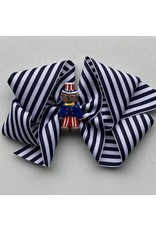 Bows Arts 4th of July Blue and White Stripe Bow with Charm