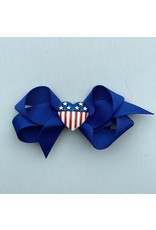 """Bows Arts 4th of July 3"""" Bow Heart Flag Charm"""