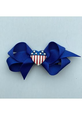 "Bows Arts 4th of July 3"" Bow Heart Flag Charm"