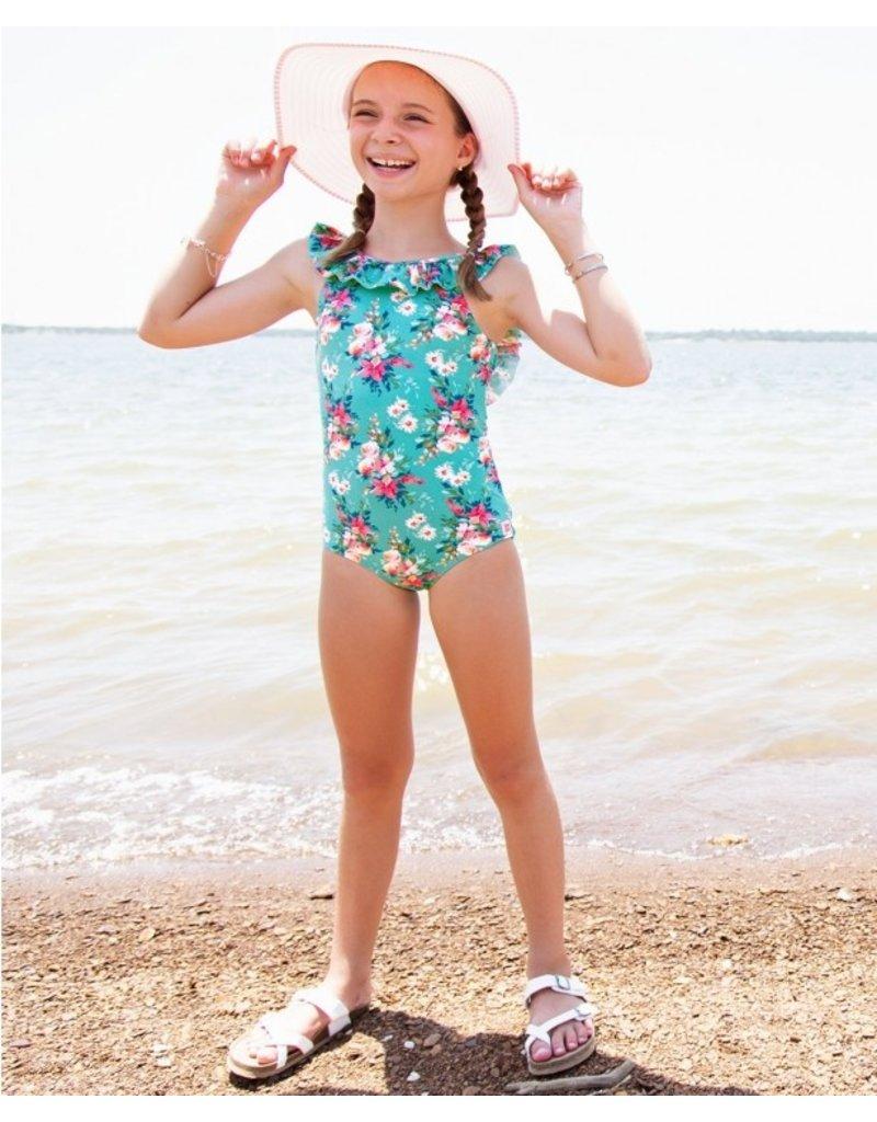 RuffleButts Girls Fancy Me Floral Ruffle One Piece
