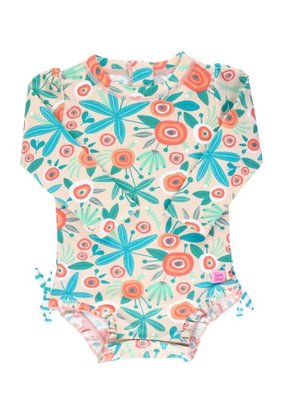 RuffleButts Seaside Floral One Piece Rash Guard 2T