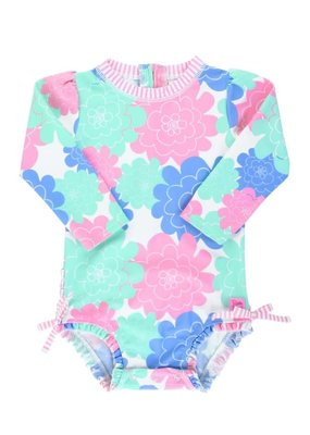 RuffleButts Pastel Petals One Piece Rash Guard 2T