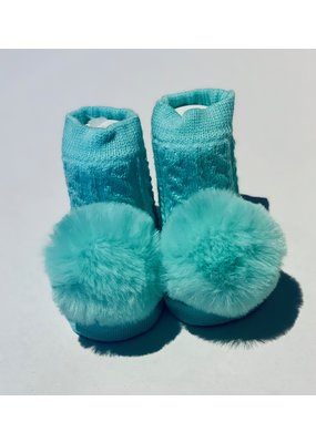 Mint Pom Waddle Socks