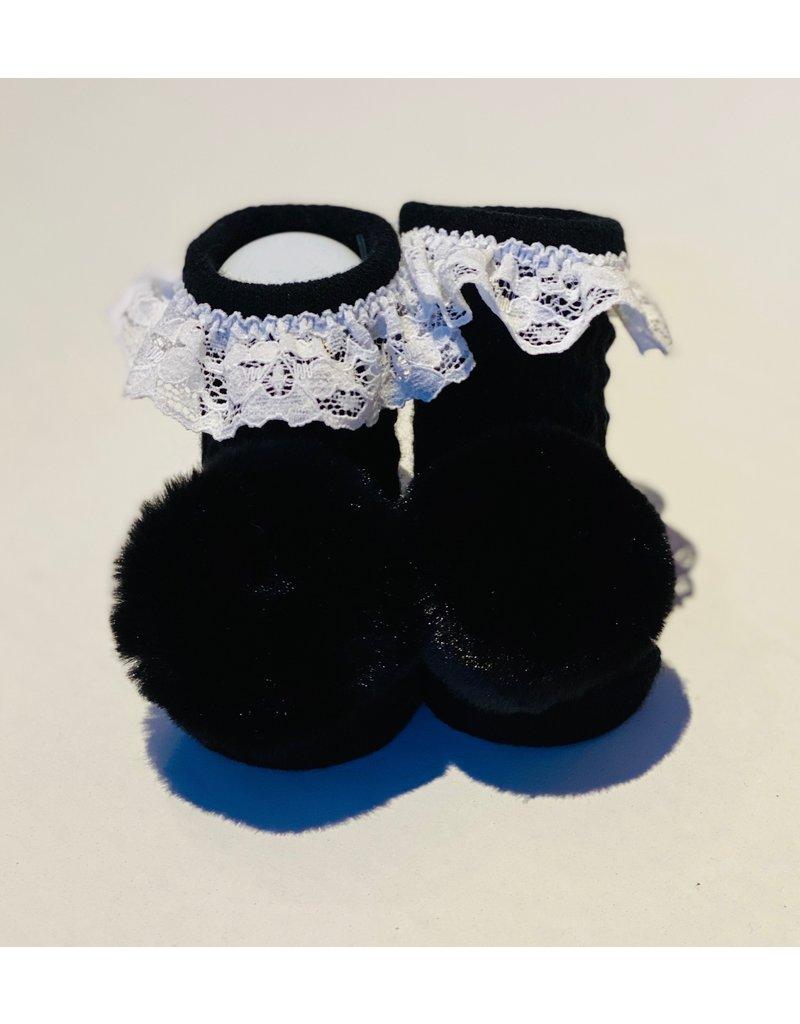 Black Lace Pom Waddle Socks
