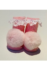 Pink Pom Lace Waddle Socks