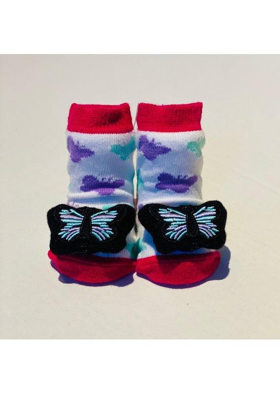 Hot Pink Stripe Butterfly Waddle Socks