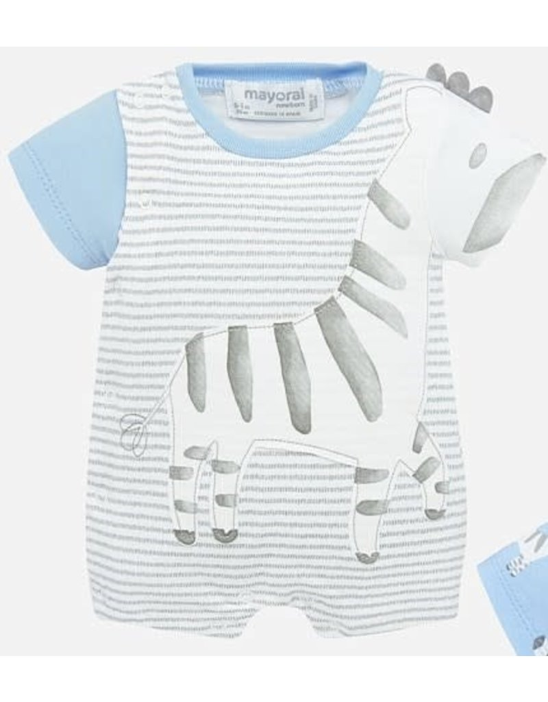 Mayoral Blue and Gray Stripped Zebra Onesie