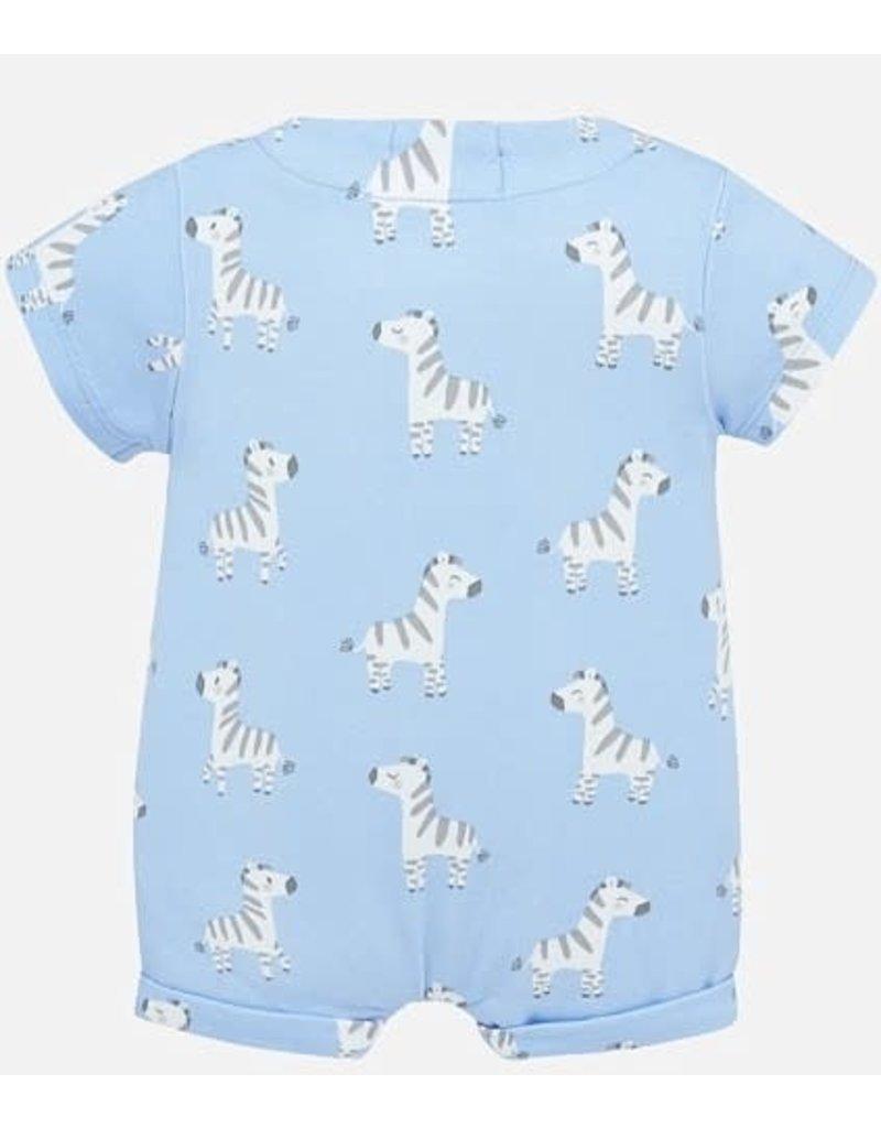 Blue Onesie with Zebras