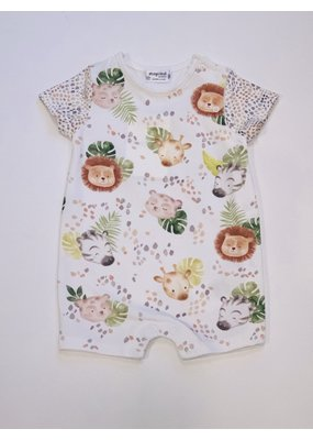 Mayoral Pistachio Short Sleeve Onesie with Animals