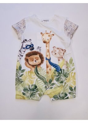 Mayoral Pistachio Short Sleeve Onesie Animals Standing