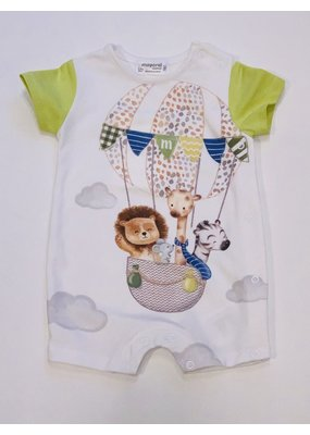 Mayoral Pistachio Short Sleeve Onesie Animals in Air Balloon