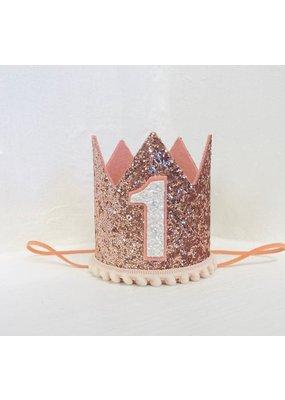 PennyandGigi Rose Gold Crown, Blush Pom Trim, #1