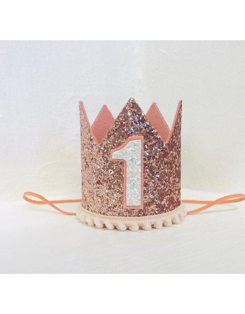 Rose Gold Crown, Blush Pom Trim, #1