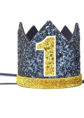Navy Glitter Crown, Gold Glitter Trim, Gold/White, #1