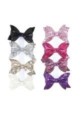 Black Glitter Bow Clip