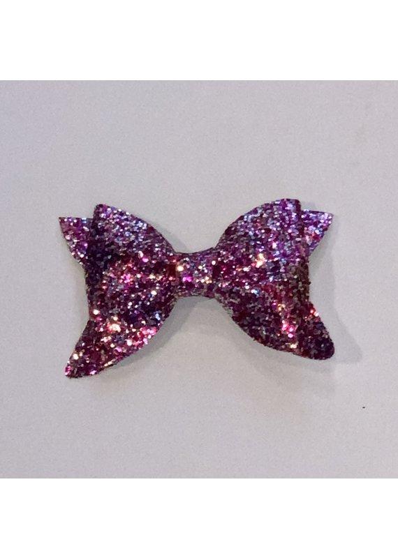 Multi-Pink Flat Glitter Bow Clip