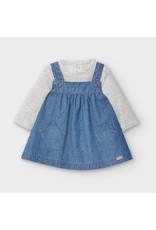 Blue Denim Pinafore & Shirt Set